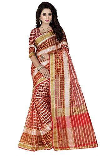 Fashion Sarees for Women Latest Design Sarees New Collection 2018 Sarees below 1000 Rupees 500 Rupees Sarees for Women Partywear Latest Design Wedding Collection Sarees for Women below 500 Latest sarees for Women Party wear Offer Designer Sarees Saree Combo Sarees New Collection Today Low Price (Women's Bhagalpuri Saree With Blouse Piece) Saree for women party wear latest design new collection silk Sarees offer designer saree Collection 2018 in Latest Saree With Designer Free Size (Sky) (Red)