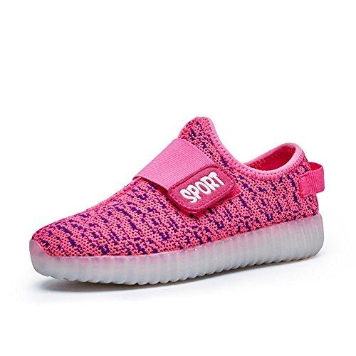 Aidonger Unisex 7 Colors USB carica LED di carico lucido top dell'alto delle scarpe Flash scarpe onde ragazzo e ragazza Rosa