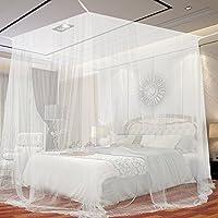 Jtdeal Moskitonetzd doppelbett, 190* 210* 240cm, Mückennetz Kastenform für Camping, zu Hause, Garten, 4 offenen Seiten, (weiß)