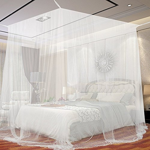 JTDEAL Bedside Mosquito Net, 4 Corners Suitable for Single Bed or Anti-mosquito Marriage for Home or Vacation - White