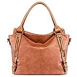 Hsenbro Handtaschen Damen Lederimitat Umhängetasche Designer Taschen Hobo Taschen groß Mit (Braun)