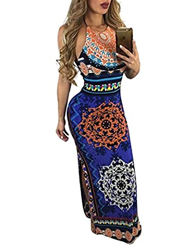 Simplee Apparel Women's Summer Beach Side Split Boho Backless Floral Hater Neck Bodycon Maxi Dress Dark Blue