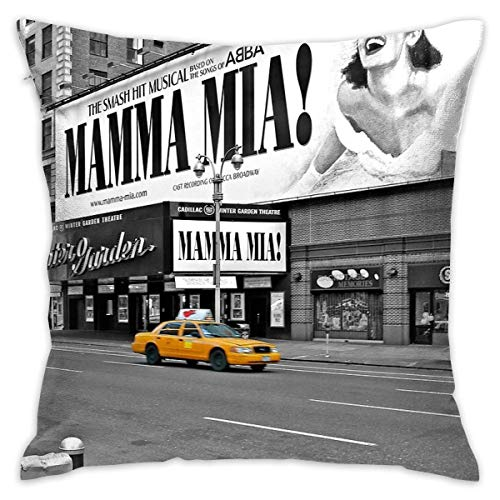 KLYDH NYC Yellow Cabs Mamma Mia Home Decorative Throw Pillow Case Cushion Cover for Gift Home Couch Bed Car,Cover Size:18 x 18 Inch(45cm x 45cm)