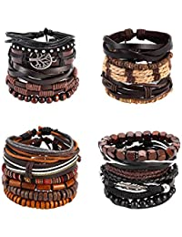 OMONT 21PCS Mixed Wrap Braided Leather Wristbands Bracelets and Wood Beads Bracelet Set Pack Handmade for Men Women 7-8.5inches Adjustable