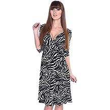 Elegant Leo Look Kleid Leopard Zebra Gr 2908 XS S M L XL XXL XXXL 4XL