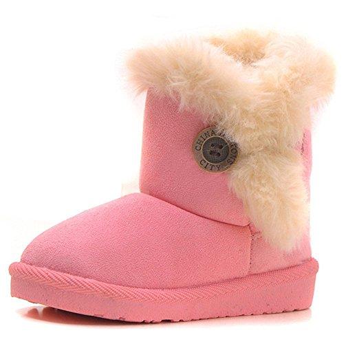 Kleine Mädchen-schnee-stiefel (Eagsouni Maedchen Warme Watte Gepolsterten Schuhe Kleinkindschuhe Fell Boots Knopf warm gefuettert Baby Schlupfstiefel Schneestiefel, Rosa/Pink Gr. 23)