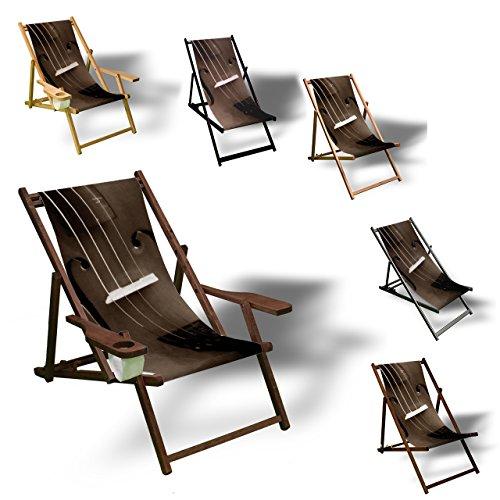 Printalio - Geige - Liegestuhl Bedruckt Balkon Garten Sonnenliege Relax Holz Terrasse | Aluminium, Schwarz