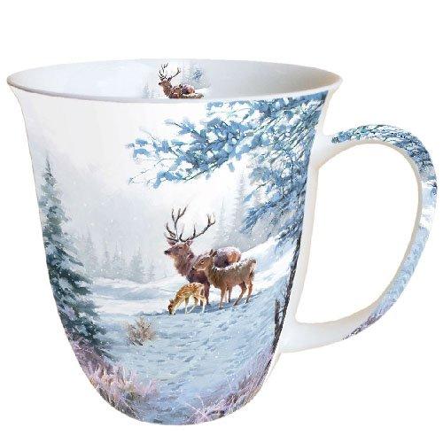 Ambiente Becher - Mug - Tasse - Tee/Kaffee Becher Deer Family - Hirschfamilie - REH - Wald - Winter - Weihnachten ca. 0.4L - Ideal Als Geschenk Bone China Fine China Mug