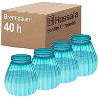 Hussala Bonfire Citronella Vela de tocón en carcasa plástica (para exterior y interior) - Duración de la combustión: 40 h - turquesa [4 unidades]