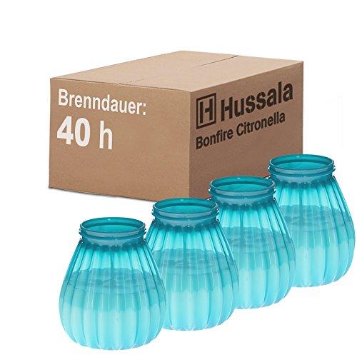 Hussala Bonfire Citronella Duft Kerzen mit Kunststoff-Windlicht-Glas (Outdoor & Indoor-Kerze) Brennzeit 40 h - türkis [4 Stück]
