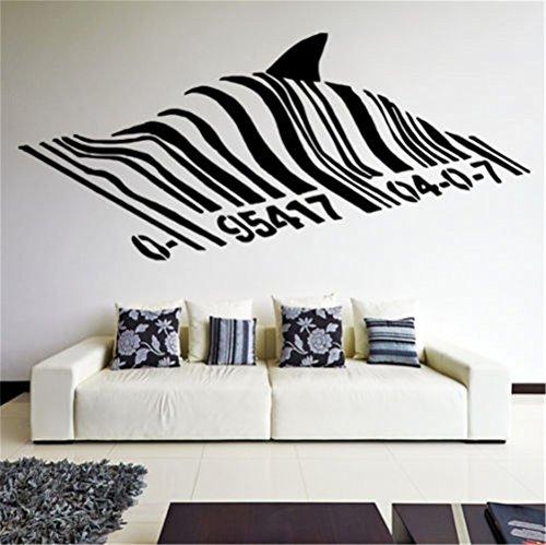 wandaufkleber baum weiss Barcode-Haifisch, Fisch-Strichkode Graffiti-Straße für Wohnzimmerschlafzimmer