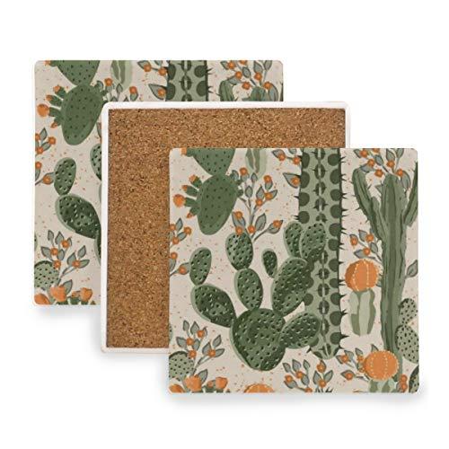 PANILUR Aquarell Muster grüne saftige Kaktus Orangen Blumen Natur mexikanische Wüsten Birnen stacheliges mit Blumen,Untersetzer Saugfähige Keramik,für Tassen Tisch Bar Glas(2 Packs) -
