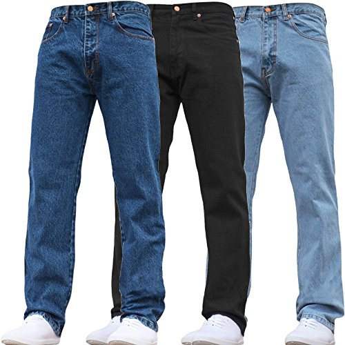 Mens Denim Jeans Straight Leg Work Basic Stone Wash Light Wash Mid Wash Bottom Regular Fit Pants