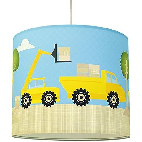 anna wand Lampenschirm UNDER CONSTRUCTION – Schirm für Kinder / Baby Lampe mit Baustellen-Motiv in versch. Farben – Sanftes Licht für Tisch-, Steh- & Hängelampe im Kinderzimmer Mädchen & Junge