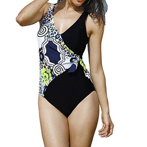 eiliger Schwimmanzug - hibote Frauen Vintage Elegant Plus Size Einteiler Push up Monokini Schwimmanzug Bademode Beachwear (Plus Größe Sehr Low-cut-tops)
