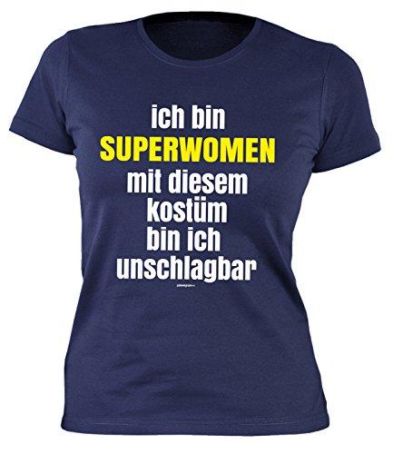 Superwoman Kostüme Arten Halloween Von (Fastnacht Girlie Shirt ::: Ich bin SUPERWOMAN und mit Kostüm unschlagbar ::: Karneval Fan und)