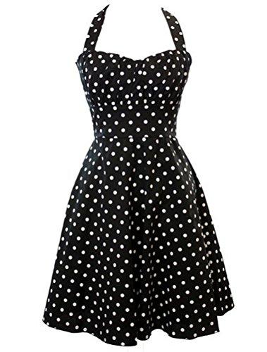 MatchLife Damen Vintage Abendkleider Pin-up Ohne Arm Kleider Dot Schwarz-2