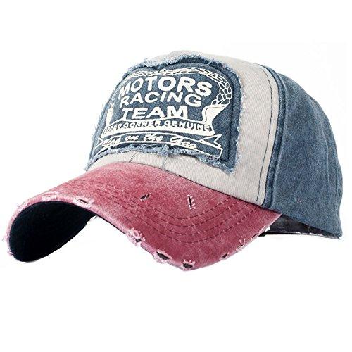 Nueva unisex gorra de béisbol algodón mezclado motocicleta Gorra molienda borde haga viejo Sombrero (rojo)
