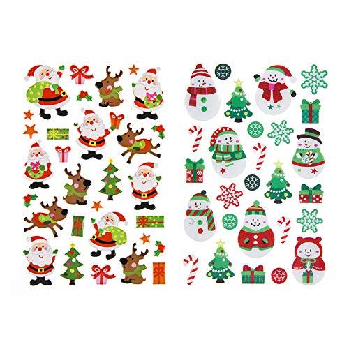 Hieagle Weihnachtsdeko Kleine Weihnachtssticker Süße Weihnachtsmann/Weihnachtsbaum/Schneemann 57 Aufklebern 2 Blätter