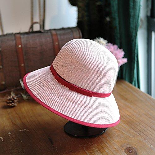 LLZTYM Chapeau/Femelle/Été/Pliant/Chapeau/Chapeau/Chapeau/Pêcheur/Cadeaux D'Emballage Pink