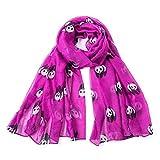 Lenfesh Mujer Bufandas con estampado de Panda Bufanda Fulares de Mujer de Seda Suave Mantón Estolas
