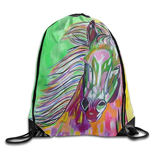 uykjuykj Tunnelzug Rucksäcke, Gym Drawstring Bags Horse Oil Painting Draw Rope Shopping Travel Backpack Tote Student Camping Lightweight Unique 17x14 IN -