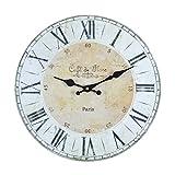 Wanduhr - Cafe de Flore - Holz Küchenuhr mit großem Ziffernblatt aus MDF, Retro Uhr im angesagtem Shabby Chic Design mit leisem Quarz-Uhrwerk, Ø: 32 cm