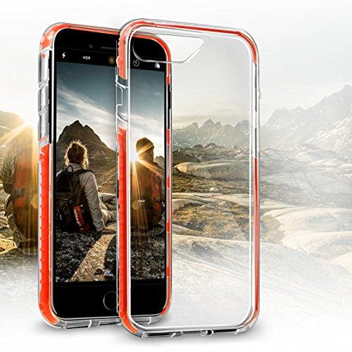 Orzly® FUSION Bumper Case für Apple iPhone 6 & 6S (4.7-Zoll Modell 2014 & 2015 Version) - Schutz Hard Cover mit stoßabsorbierenden Gummi SCHWARZ Rim und Voll Transparente Rückseite ROT Fusion für iPhone 7
