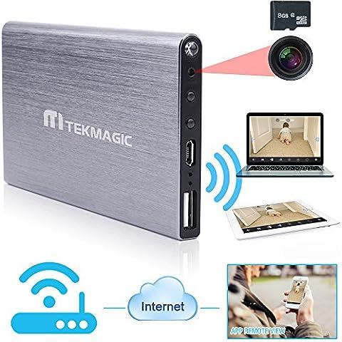 TEKGAGIC 8GB 1920x1080P HD Red WIFI Cámara Espía Banco Portátil Banco de Energía Grabadora de Vídeo Soporte de iPhone Android APP Vista Remota con Función de Grabación de
