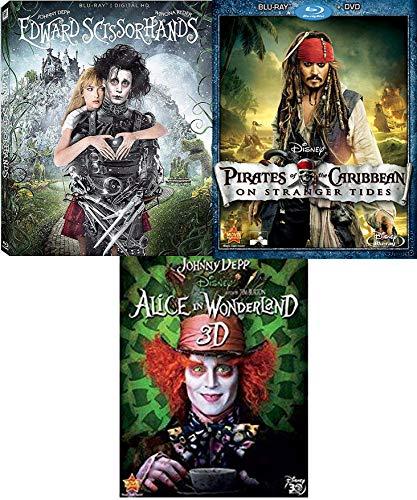 Tides of Johnny Depp Edward Scissorhands Blu Ray + Alice in Wonderland in 3D Director Tim Burton + Disney Pirates of the Caribbean on Stranger Tides Fantasy 2 film Triple Feature Bundle