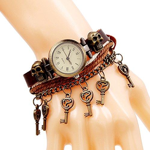 SNHWARE Bracelet Circle Lederarmband Armband Für Unisex Multi Strands Armbänder Stammes Geflochtene Seil Schädel Niete Kette Schlüsselanhänger Braune Farbe