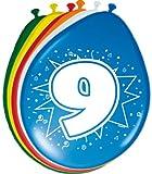 Folat 8 Luftballons Zahl 9 Geburtstag bunt