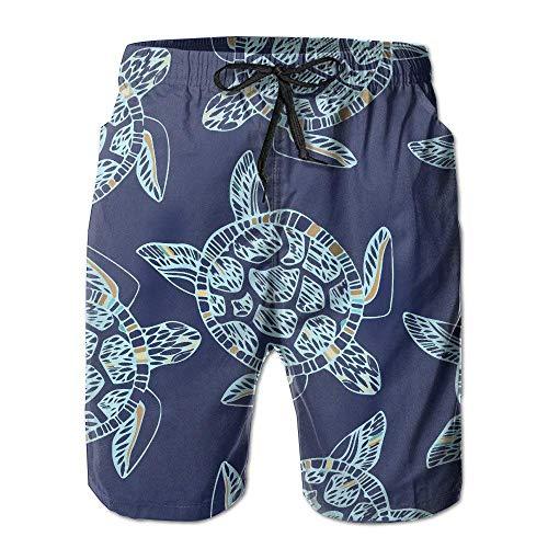 XIAOYI Mens Sea Turtle Shell Clip Art Summer Holiday Swim Trunks Beach Shorts Cargo Shorts - XL