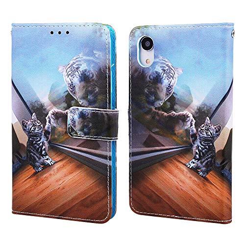"""Nadoli Leder Hülle für iPhone Xr 6.1"""",Bunt Spiegel Katze Malerei Ultra Dünne Magnetverschluss Standfunktion Handyhülle Tasche Brieftasche Etui Schutzhülle für iPhone Xr 6.1"""""""