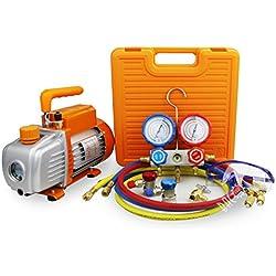 BACOENG 3 CFM Pompe à vide et Collecteur Jauge Ensemble/ Manifold Gauge - Chauffage, Ventilation et Climatisation A/C réfrigération kit - Idéal pour R22 R134a R410A R407C