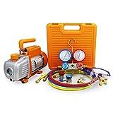 BACOENG 3CFM Vacuum Pump & Manifold Gauge Set - HVAC A/C Refrigeration Kit
