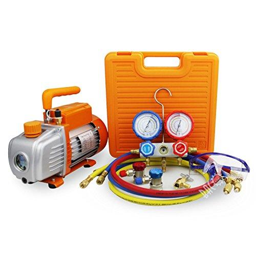 BACOENG Pompa Vuoto 85 Lt/min con Manometro Collettore, Kit carica e vuoto, per HVAC/Ricarica Automatica del Refrigerante CA, R410A R22 R134a R407
