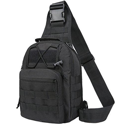 he, Tactical Umhängetasche Brusttasche Rucksack mit Einem Gurt Sling Tasche Messenger Schultertasche Crossbag Sling Rucksack für Radfahren Wandern Camping Freizeit Tasche ()