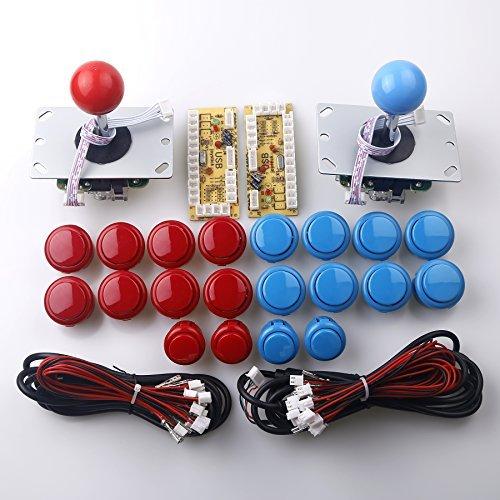 Reyann 2 Giocatori Gioco Arcade Parti fai da te, 2 x Encoder USB Zero Delay + 2 x 8 vie Joystick + 20 x pulsanti Supporta tutti i sistemi Windows e Raspberry Pi, Colore: rosso e blu