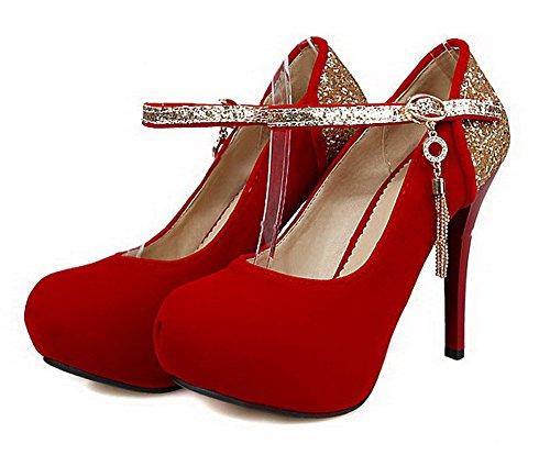 VogueZone009 Donna Punta Chiusa Punta Tonda Tacco Alto Finta Pelle Scamosciata Colore Assortito Ballerine Rosso