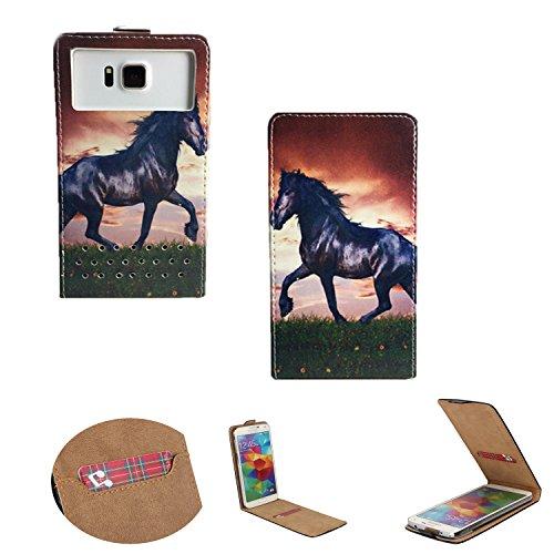 Handy Schutz Hülle | für simvalley MOBILE SPX-34| Slim Flipstyle mit Magnetverschluss |Flip Nano S Pferd Pony
