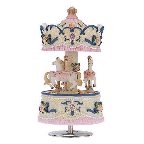 Andoer ® Laxury Baseball 3-horse Karussell Musik Box Creative Artware/Geschenk Melodie Castle in the Sky pink/lila/blau/gold Schatten für Option blau