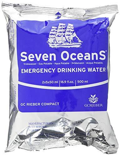 Compact Seven Oceans Trinkwasser Konserven - Wasser Ration für unterwegs - 500 ml in Schutzverpackung