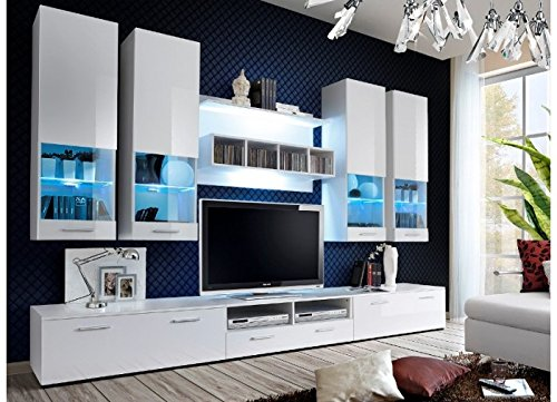 Wohnwand CORFU Hochglanz mit LED-BELEUCHTUNG WEIß