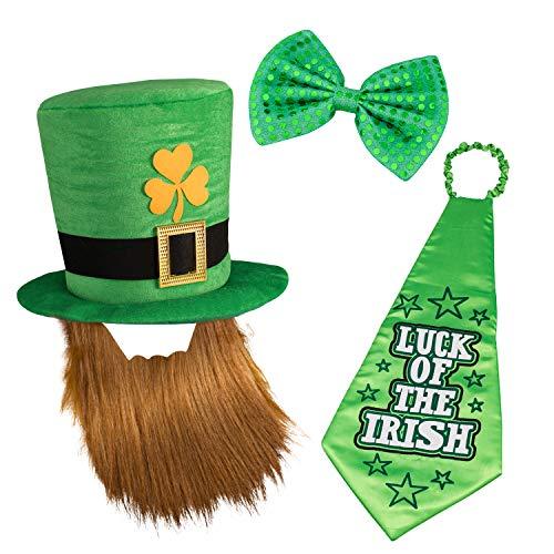 Whaline St. Patrick's Day Leprechaun Hut Kobold Zylinder und Bart, Große Schlips und Glückliche Krawatte für Irish St Patrick's Day Kostümparty Kostüm Zubehör Party Favors Dekoration (Glücklicher Kobold Kostüm)
