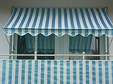 Angerer 2308/1001 Klemmmarkise PE-Gewebe Blockstreifen, Blau, 350 cm