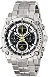 Bulova Men's Designer Chronograph Watch Stainless Steel Bracelet – Blue W/ Yellow Precisionist Wrist Watch 96G175