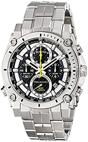 Bulova Precisionist 96G175 - Herren Designer-Armbanduhr - Chronograph mit Armband aus Edelstahl - Blau/Gelb