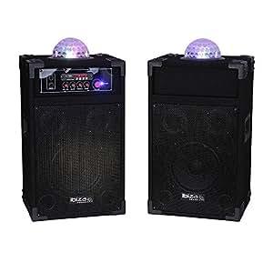 """Ibis DP234-ASTRO Système Actif d'enceintes 8""""/20 cm + Effet de Lumière à LED RVB Noir"""