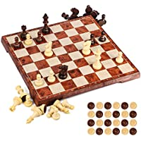 UNEEDE Magnetic Chess Board Set 31.2CM x 31.2CM Wooden color 2 in 1 Chess & Checkers Game Set with Portable Folding Board Design for Kids and Adults